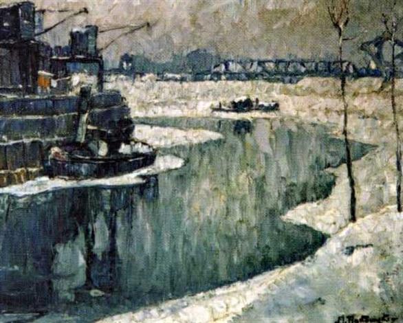 vue dun port en hiver by mecislas rakowski