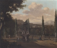elegant figures walking in the garden of a palace 