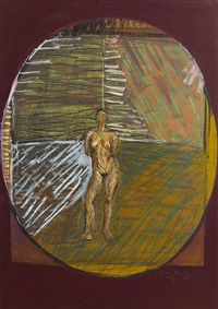 figure in a landscape (mother earth the four seasons) by brian bourke