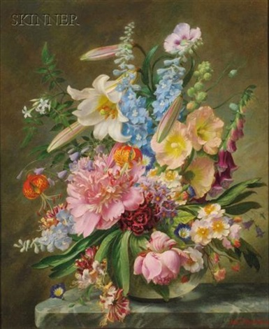 arrangement with lilies still life with roses bluebells and poppies 2 works by john e nicholls