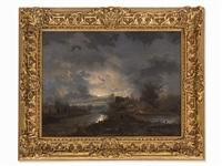 moonlit landscape by george gillis van haanen