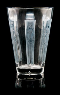 a rene lalique molded and frosted glass six figurines vase by rené lalique