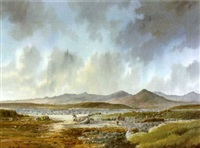 fisherman in west of ireland landscape by r. b. higgins