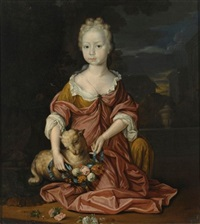 a portrait of a young girl, seated full-length, wearing a yellow and red satin dress, dressing up a sheep with a flower garland, in a formal garden by mattheus verheyden
