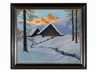 alpine pasture in winter by karl kasberger