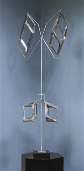 aluminum metal kinetic sculpture by george rickey