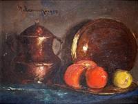 nature morte aux cuivres et aux fruits by haralambos potamianos