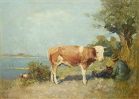 landscape with a cow and a herdsman resting by gari melchers