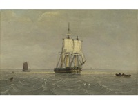 sailing in choppy seas off the yorkshire coast by john ward of hull