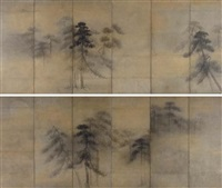 pine trees in moonlight (+ another; pair) by tohaku hasegawa