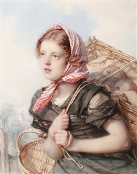 portrait of young peasant girl by guido bach