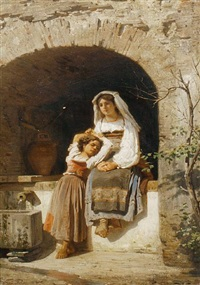 two young girls fetching water by ferdinand piloty the younger