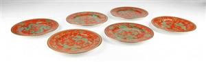 红地绿龙碟六个<br/>a set of six red ground green dragon porcelain plates