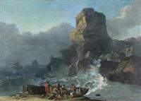 mer agitée sur une côte rocheuse by alexandre jean noel