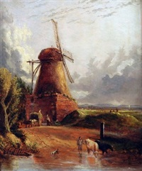 figures, horse and cart, cattle by a mill by anthony sandys