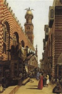 rue animée derrière la mosquée by louis vincent fouquet