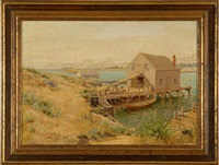 fishing shacks on a harbor by arthur radclyffe dugmore