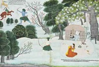 rama pursues the demon maricha as the golden deer (from a ramayana series) by anonymous-indian (19)