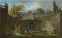 villa farnese with gardens at caprarola by hubert robert