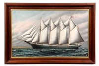 ship's portrait of the clifford n. carver by solon francis montecello badger