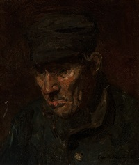 study of a farmer by floris hendrik verster
