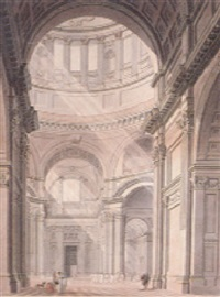 the transept of st. paul's cathedral from the north entrance by thomas malton the younger