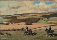 parforce riders in a wide landscape by august l. m. neven du mont