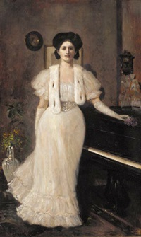 portrait of a lady in evening dress, standing by a piano by hugo böttinger