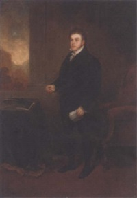 portrait of robert hawkes, holding a letter and spectacles, in an interior, a landscape beyond by benjamin robert haydon