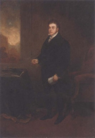 portrait of robert hawkes holding a letter and spectacles in an interior a landscape beyond by benjamin robert haydon