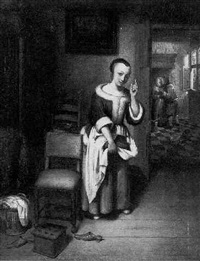 a housemaid eavesdropping on a couple in amorous embrace by reynier covyn