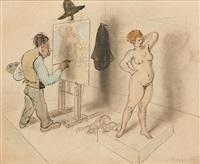 le peintre et son modèle (+1 other, verso; 2 works) by armand rassenfosse