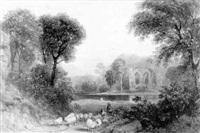 shepherds and sheep by a river, a ruined abbey beyond by joseph william allen