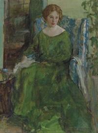 girl in green dress by henry salem hubbell