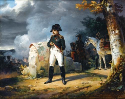 lempereur napoléon à charleroi méditant sur une carte militaire by emile jean horace vernet