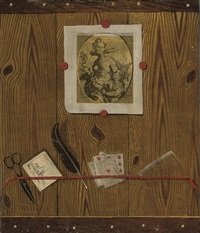 a trompe l'oeil of feathers, cards and a comb, with prints affixed by jean-françois de le motte