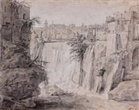 vue des cascades de tivoli (+ personnage le bras levé (study), verso) by etienne jeaurat