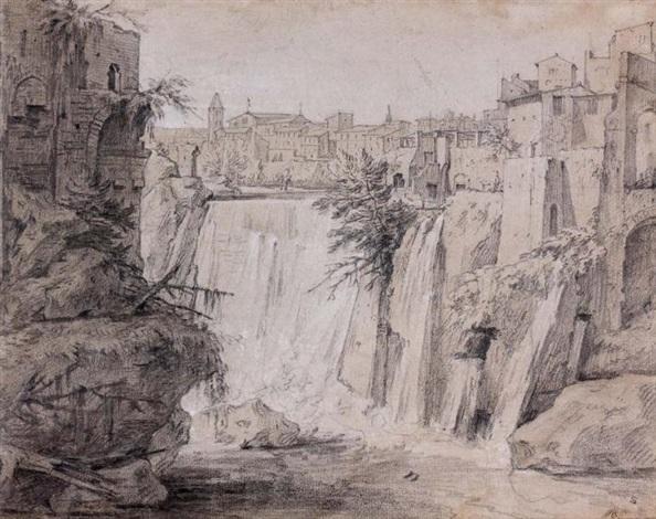 vue des cascades de tivoli personnage le bras levé study verso by etienne jeaurat