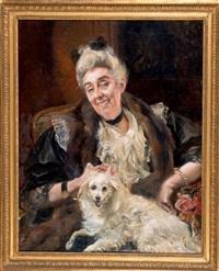 portrait de femme et de son chien by albert besnard