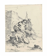 satyr family with obelisk, from: scherzi di fantasia by giovanni battista tiepolo