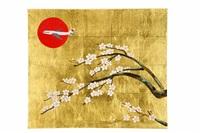 cherry blossom steel crane painting by taro yamamoto