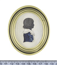 a boy, profile to the right, wearing blue jacket, white waistcoat and frilled collar by john buncombe