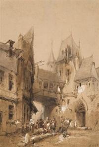 scène animée dans une ville médiévale by paul marny