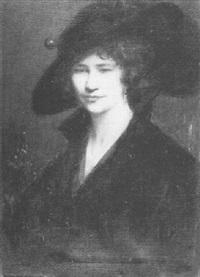 portrait de dame à la capeline noire by fred lauta