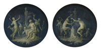 satyrs and fauns dancing before a shrine (+ diana in a landscape with the attributes of hunting and dancing figures; pair) by dirk van der aa