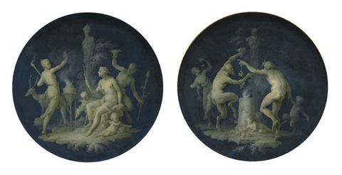 satyrs and fauns dancing before a shrine diana in a landscape with the attributes of hunting and dancing figures pair by dirk van der aa