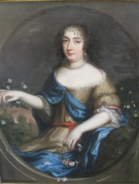 portrait of a lady half-length wearing a brown dress and blue wrap, holding flowers by henri gascars