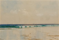coastline with distant ships by alfred thompson bricher