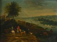 cavaliers et charrettes longeant une rivière by mathys schoevaerdts