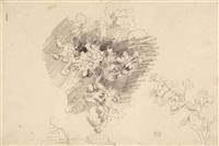 bouquet de fleurs dans un vase et branche fleurie by eugène delacroix